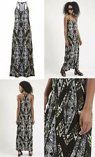 TOPSHOP Black Aztec Racer Back Strappy Maxi Dress Size 8 NEW FREE P&P £32 (A2)