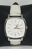 Ladies Fossil Silver Tone White Genuine Leather Band Analog Watch ES4216 B7