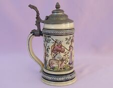 "9"" MARZI & REMY PEWTER TOP STEIN   Signed E. Demroth   ANTIQUE, 19th c GERMAN"