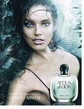 PUBLICITE ADVERTISING  2011   GIORGIO ARMANI  parfum Aqua Di Gioa