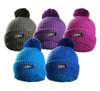ROCKJOCK MARL LADIES WOMEN GIRLS WINTER THERMAL INSULATION POM POM BOBBLE HAT