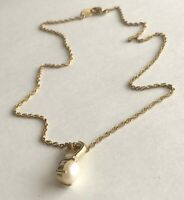 """Vintage Faux Pearl Clear Stone Gold Tone Pendant 5/16"""" x 7/8"""" Chain Necklace 17"""""""