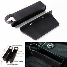Black PU Leather Driver Copilot Car Seat Crevice Storage Organizer Cup Holder