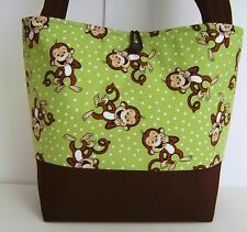 GREEN AND BROWN MONKEYS DIAPER BAG BABY UNISEX TOTE HANDBAG STROLLER HAND  MADE 073610dc02fa7