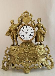 ANTIQUE 1875 FRENCH CLOCK GRACIEUS DOUBLE STATUE ROMANTIC WEDDING