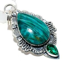 "Amazonite, Emerald Gemstone Handmade 925 Sterling Silver Pendant 2.40"""