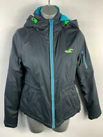 WOMENS HOLLISTER DARK BLUE PADDED ZIP UP HOODED PUFFER JACKET COAT SIZE XS SMALL