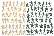 80 pcs Military Plastic Toy Soldiers Army Men Tan Green 6cm Figures