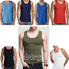Mens Vest 100% Cotton Sleeveless Tshirt Summer Top Muscle Training Gym Tank Pack