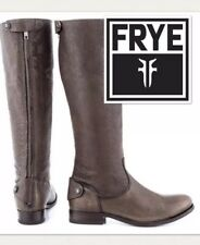 FRYE Riding Boots Melissa Button Back Zip Tall Leather Knee High, Grey 6.5