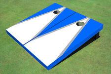 White And Navy Blue Matching Triangle Custom Cornhole Board