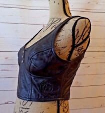 Harley Davidson Black Leather Padded Bustier Snap Back Motorcycle Top Size 34/6
