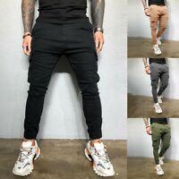 Men's Slim Fit Fashion Urban Straight Leg Trousers Pencil Jogger Cargo Pants US