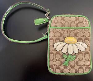 COACH Green Daisy Bleeker Cell Phone Wallet Wristlet