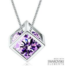 Made with Swarovski Elements Purple Crystal Magic Cube Pendant and Necklace