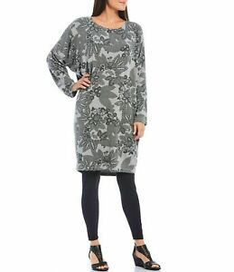 Bryn Walker Alanna French Terry Floral Print Cocoon Tunic in Dove Sz XL
