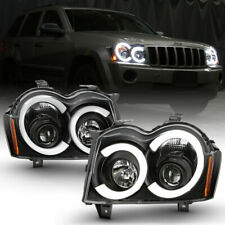 For 05-07 Jeep Grand Cherokee Black Housing LED Tube Halo Projector Headlight