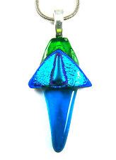 DICHROIC Fused Glass PENDANT Slide Aqua Blue Cobalt Emerald Green Clear Abstract