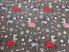 Grey Dog & Bone Printed Polycotton Craft Fabric