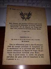 REGIO DECRETO 1888 AGG STR PROV CAMPOBASSO BAGNOLI del TRIGNO prov GARIBALDI