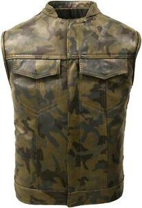 Cafe Racer Camouflage Brown Leather Biker Vest Motorcycle Leather Vest For Men