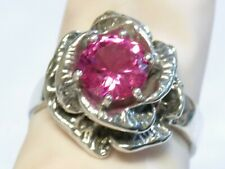 PINK SAPPHIRE RING SIZE 5.5 ANTIQUE 925 STERLING SILVER FLOWER 1.60CT USA MADE