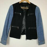 Izzue Collection Womens Black Blue Denim Zip Pockets Blazer Jacket XS B315