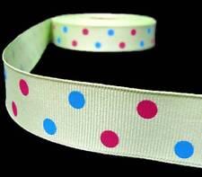 "5 Yards Green Blue Pink Polka Dot Polkadot Grosgrain Ribbon 7/8""W"