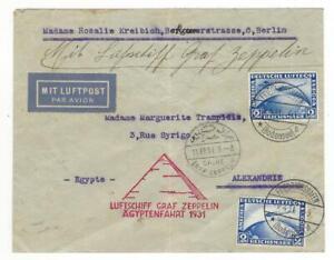 1931 Zeppelinpost LZ127 Ägypten Fahrt m. Bestätigungsstempel Cairo portorichtig