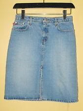 Ralph Lauren Polo BLUE DENIM Front Slit Straight Below Knee SKIRT ~ Size 2