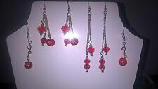 boucle d oreille rouge perle swarovski clip ou non earrings