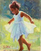 Original Oil Painting ( Dancing With The Wind) canvas board size 6x8 Single.
