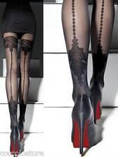 Mock Suspender Stockings-tights-fiore Apriel 40 Denier Back Seamed Effect 3 - Medium Black