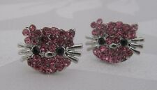 Small Silver Plated Pink Crystal Hello Kitty Cat Stud Earrings - 10mm diameter