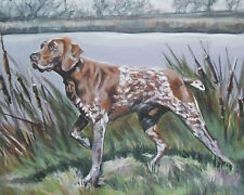 """German Shorthaired Pointer dog art canvas PRINT of lashepard painting gsp 8x10"""""""
