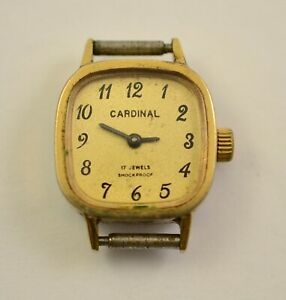 Vintage Ladies Mechanical Handwinding watch Cardinal 17J Swiss Made Golg Plate