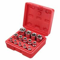 "14x E Star Torx Sockets Rail Female Star E4 to E24 E-Torx Set 1/4"" 3/8"" 1/2"" UK"