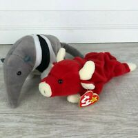 Retired Ty Beanie Babies Lot of 2 Rare Snort Red Bull and Ants Anteater W/ Tags