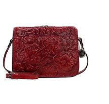Patricia Nash Nazaire Leather Top-Zip Crossbody Bag Red Veg Tan Tooled Nwt