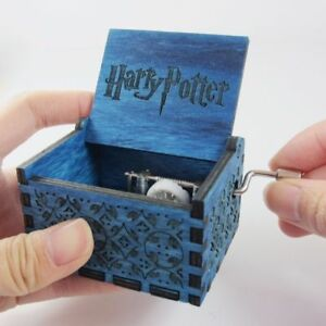 Antique Music Box Carved Wooden Metal Hand-operated Harry Potter New Year Gift