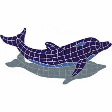 Jumping Dolphin w/ Shadow Mosaic Tile Swimming Pool Counter Table Wall Bath Art