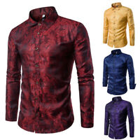 Wine Red Men Shirts Casual Tops Long Sleeve Vine Pattern Button Down Dress Shirt