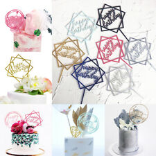 Happy Birthday Cake Topper Crown Heart Acrylic Cupcake Topper Party Supplies 1PC