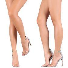 CELEBRITY STYLE Metallic mirror Clear Strap Stiletto High Heels Pumps Sandal H43