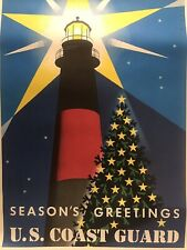 Antique Us Coast Guard Season's Greetings Poster Us Printing Office 1961D 600489