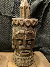 Nigerian Helmet Mask with Four Faces — Authentic Handcarved Wood African Art