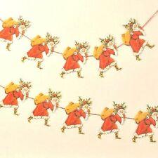 Antique Style Die cut Santa Claus Presents garland Father Christmas decoration