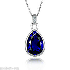 925 Sterling Silver 10.1 ct Sapphire Synthetic inlays Necklaces Pendant P9338