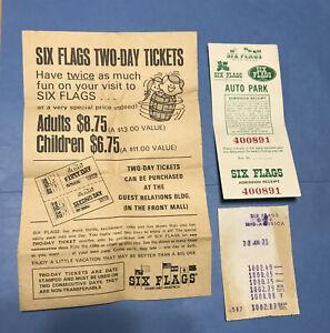 JZ003 Vintage 1973 Six Flags St Louis Ticket Ad Parking