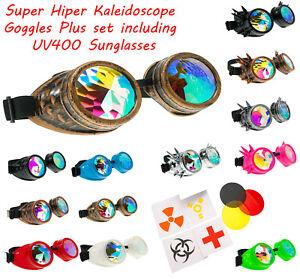 Retro Sunglasses Kaleidoscope Glasses Rave Dance Diffracted Rainbow Festival Set